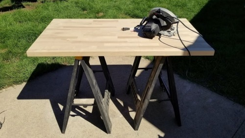 cutting the butcher block-
