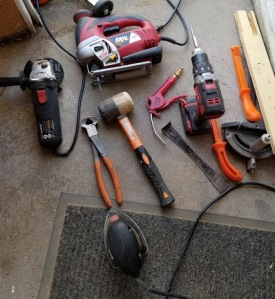 The variety of tools needed to modify the drawers-