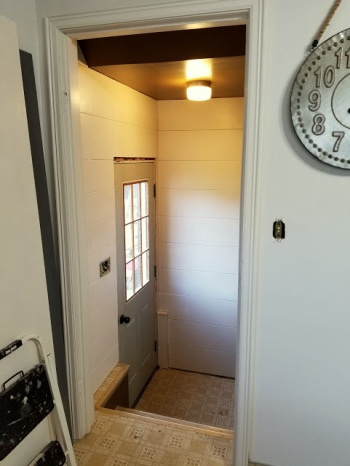Adding Shiplap to the back hall!