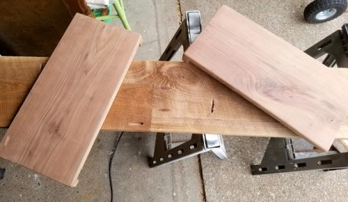 Walnut REclaimed boards for open shelving