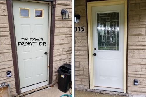the OLD front door and the NEW front door!