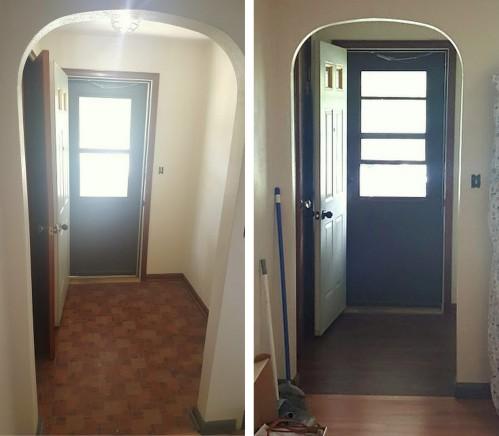 the FOYER- old floor vs new floor