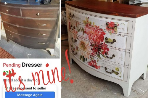 Bow-front Dresser w/decoupaged poster
