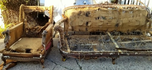 a discarded, original, Victorian sofa and chair!