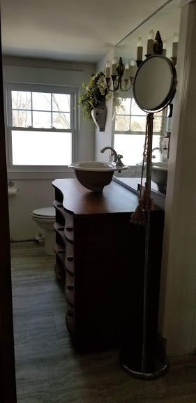 getting the dresser ready for a sink & plumbing