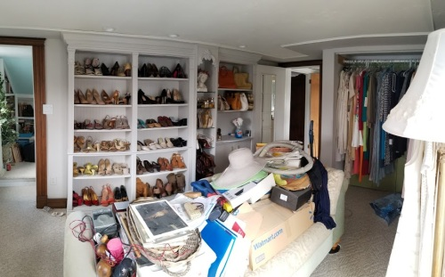 the Shoes & Purses side of the room!